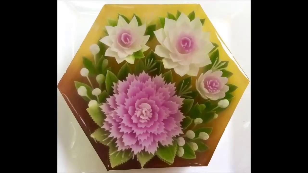 Jello Cake With 3d Flower Amazing Dessert Youtube