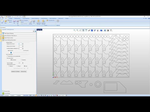 VisualCAD/CAM 2021 Rectangular Nesting Quick Start