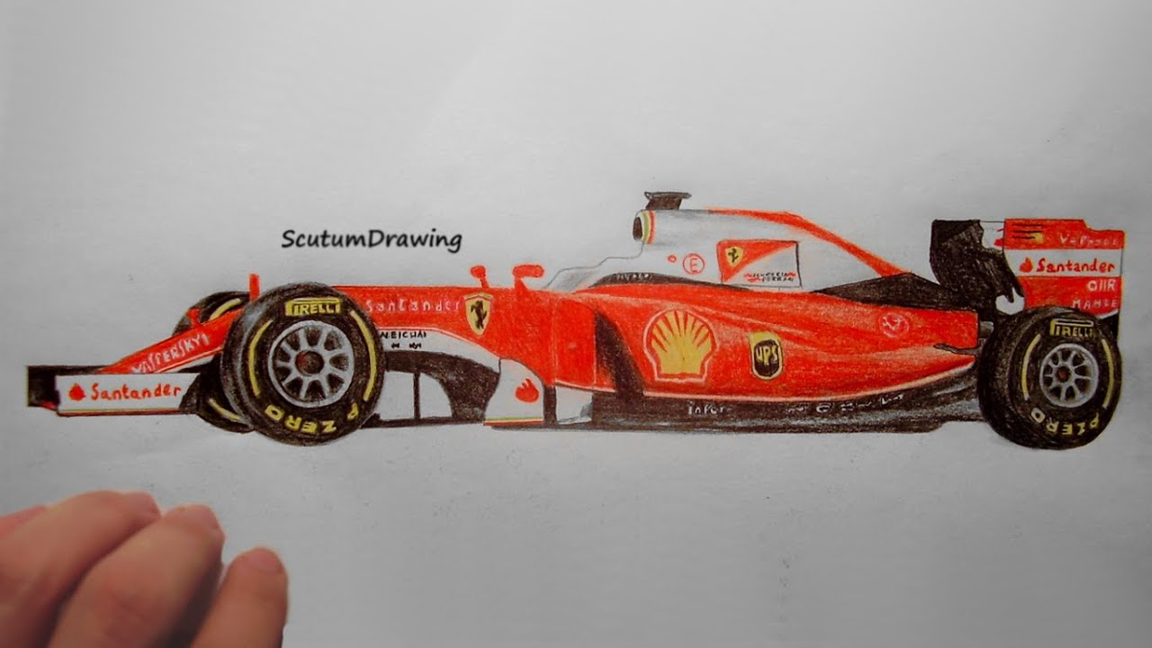 Ferrari Sf16 H Speed Drawing How To Draw F1 Car Youtube