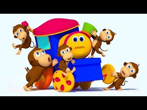 Bob The Train | Five Little Monkeys Jumping on the Bed | Monkey Song Bob | Nursery Rhymes by Kids Tv