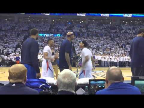 Charlie Villanueva tries to interrupt Russell Westbrook and Cameron Payne