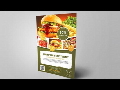 Beautiful Restaurant Flyer Design -Burger - Photoshop Tutorial /CC/CS6 thumbnail