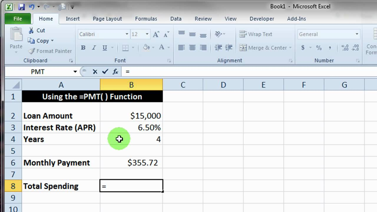 Excel PMT() Function Basics - YouTube