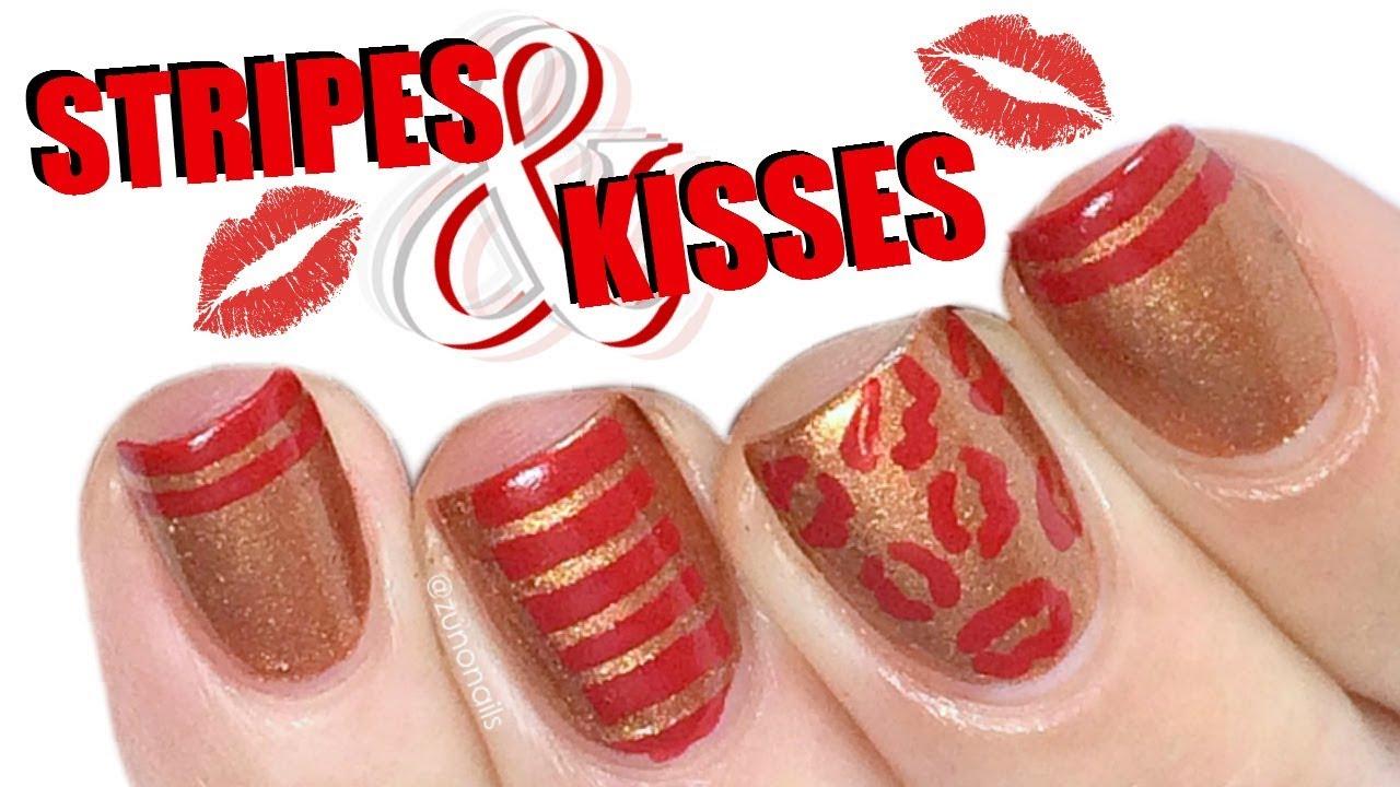 Stripes Kisses Nail Art Tutorial By Zunonails Youtube