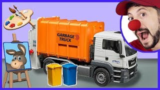 Funny Clown Bob an Artist & Construction vehicles Toy Garbage Truck