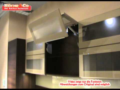 k che co h ngeschrank mit glas faltliftt youtube. Black Bedroom Furniture Sets. Home Design Ideas