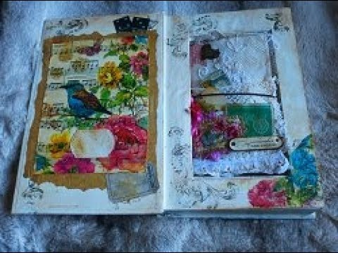 Kaleidoscope Melody Mini Vintage Junk Journal in Altered Book Box  - SOLD - Thank you!