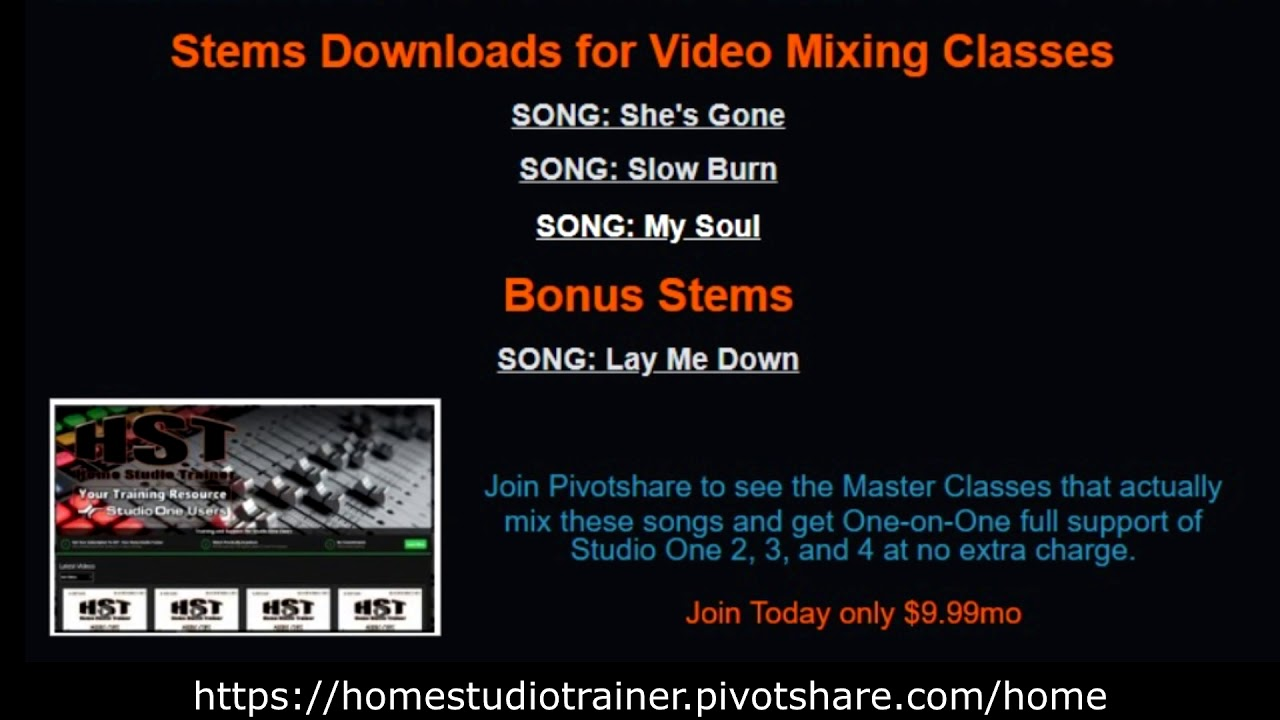 Welcome to The Home Studio Trainer Pivotshare VIP Site!