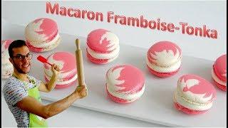 RECETTE MACARON TONKA-FRAMBOISE FACILE / Raspberry-tonka macarons (English subtitles available)