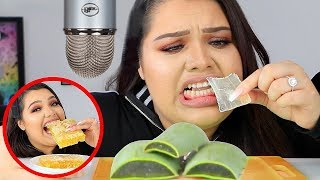 I Tried ASMR.. Eating Raw Honeycomb, Slime, Aloe Vera (Sticky Crunchy Sounds)