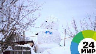 В Казахстане слепили восьмиметрового снеговика - МИР 24