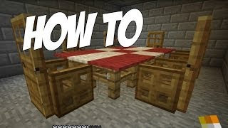 How to make a Table Cloth / Dining Room in Minecraft! Furniture Series Episode