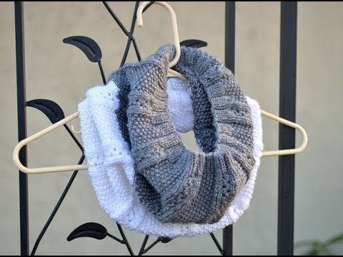Diy How To Knit A Scarf With Circular Needle Two Colors Infinity