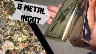 6 Metal Ingot - Mixing Metals - Trash To Treasure - SLAG MELTING -copper brass bronze zinc aluminium