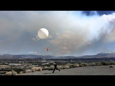 5.18.14: Weather Balloon Launch At NWS Reno With Hunter Falls Fire In The Background.