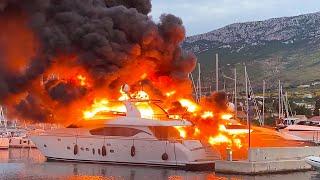 Сгорели миллионы евро. Десятки роскошных яхт уничтожены огнем в Хорватии