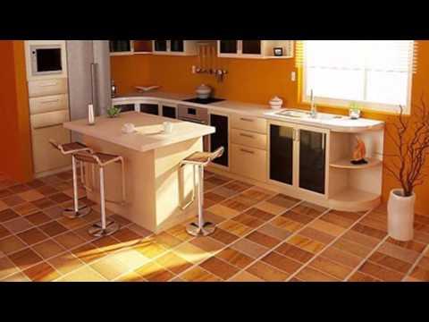 Оранжевая кухня мебель, обои, пол и потолок цвета спелого апельсина