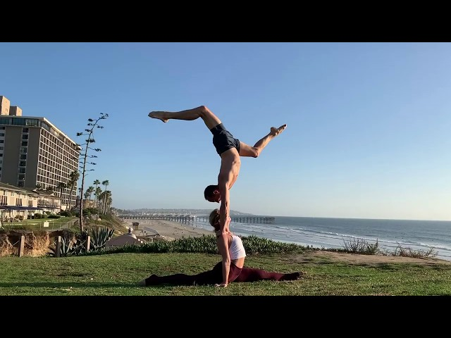 Tari Mannello handstand on shoulders while Bonnie is in the splits