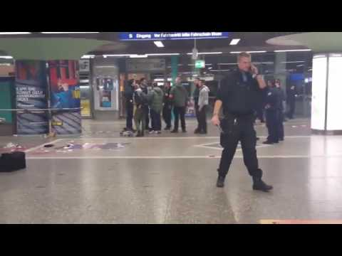 Police at the scene of knife attack in Frankfurt Hauptwache station