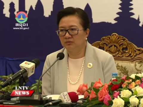 Lao NEWS on LNTV: The  Lao MOIC Khemmani Pholsena announces 48th AEM concludes.8/8/2016
