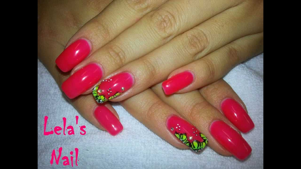 Neon bright coral with flowers gel nail art tutorial youtube prinsesfo Choice Image