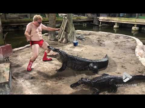 Curtis - Florida Man In Red Speedos and Boots Dances In Cage With Alligators