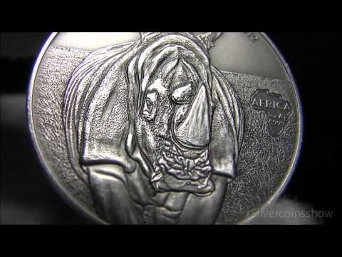 2012 Congo Rhinoceros 1000 Francs  - African silver ounce - Antique finish