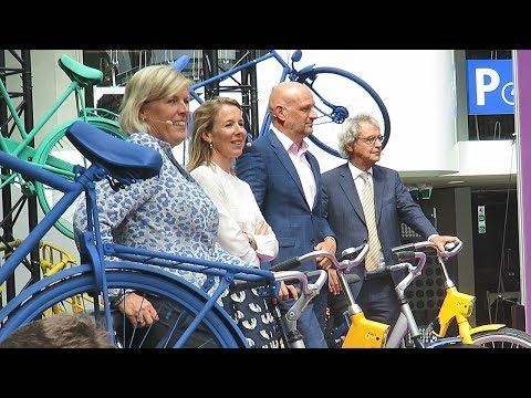 Opening of the world's biggest bicycle parking garage in Utrecht, NL