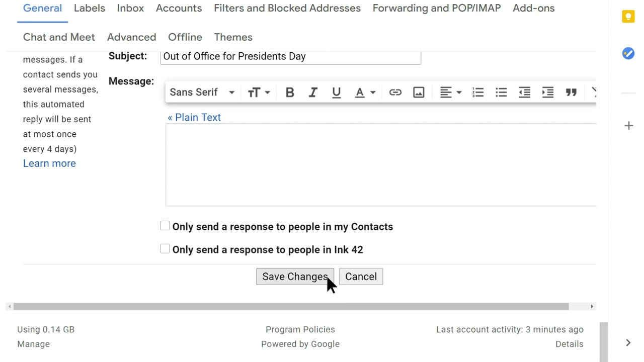 How to: Change default text in Gmail