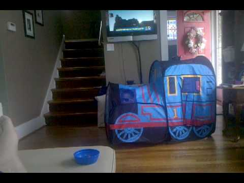 Grant rediscovered his Thomas Train tent. & Grant rediscovered his Thomas Train tent. - YouTube