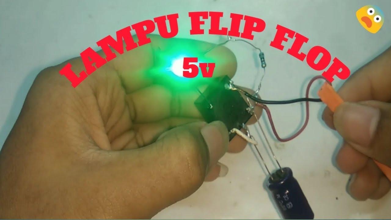 Rangkaian Lampu Flip Flop Menggunakan Relay