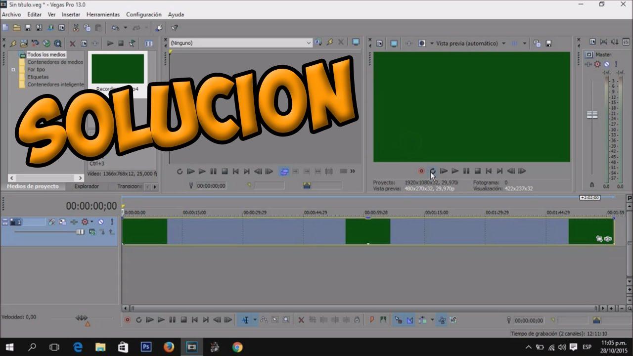 solucion al error de pantalla verde sony vegas - YouTube
