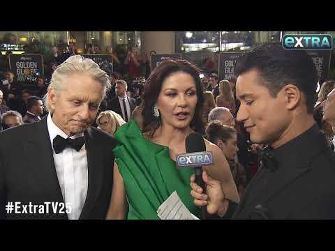 Michael Douglas & Catherine Zeta-Jones Take 'Extra's' Couple Quiz at the Golden Globes