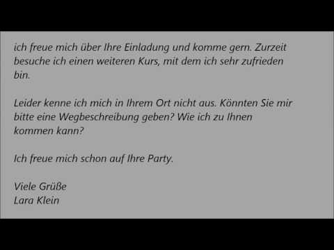 Deutsche Brief A1 A2 B1 Prüfung 31 Einladungsbrief
