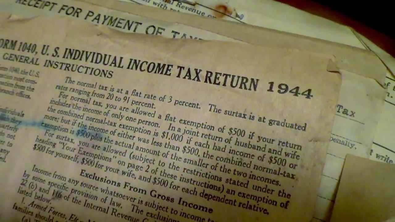 Form 1040 Instructions 4 Pages In 1944 Irs Tax Forms Youtube