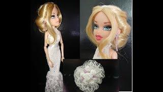 Свадебное платье для куклы, букет невесты, прическа и серьги