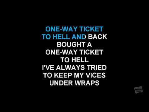 One Way Ticket (Radio Version) in the style of The Darkness karaoke video