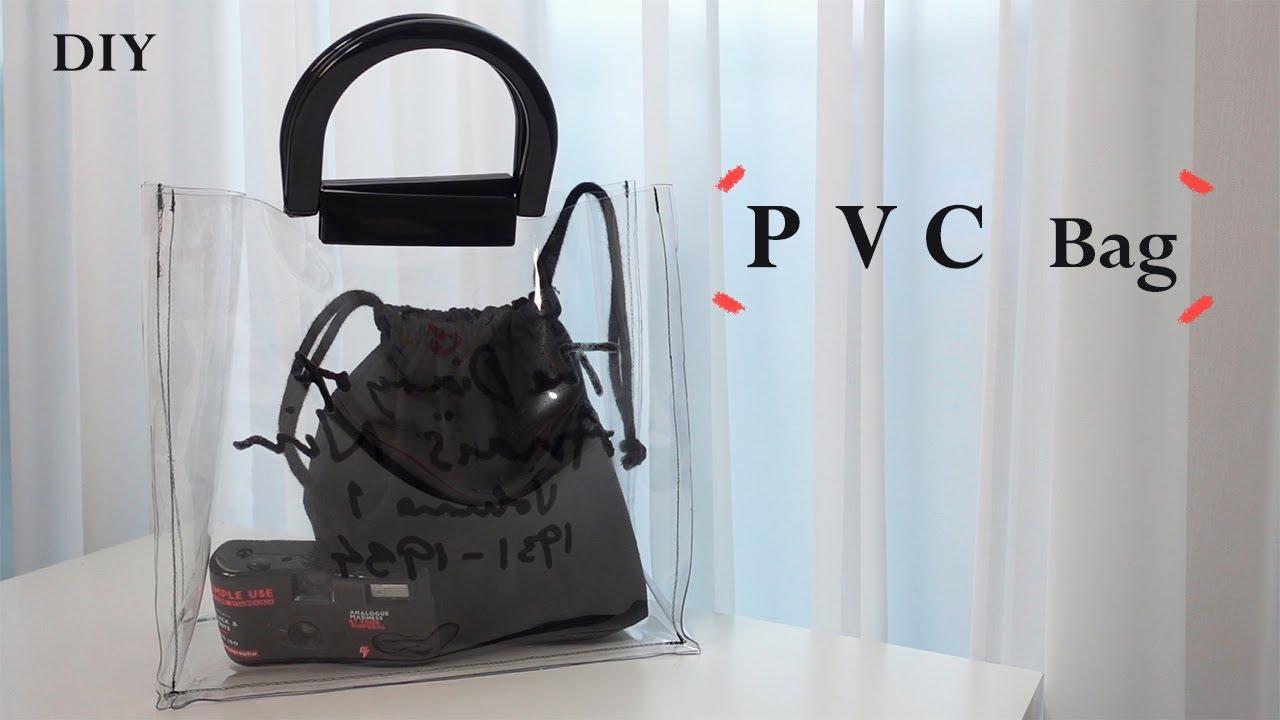 DIY 올 여름 하나씩 갖고 싶은 pvc 가방 만들기, pvc bag / how to make a pvc bag / sewing tutorialㅣsquare sand
