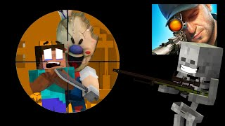 SNIPER GUN 3D AGAINST VILLAINS  - Minecraft Animation