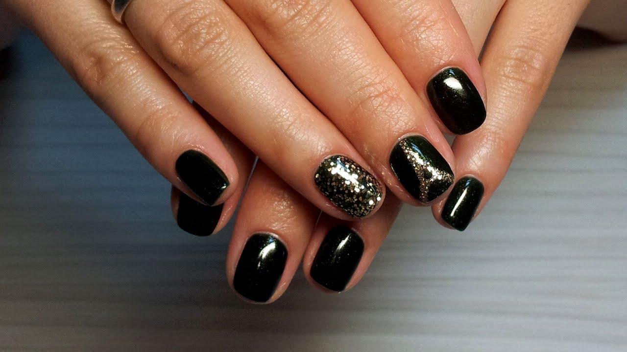 Гель-лак с блестками дизайн ногтей фото