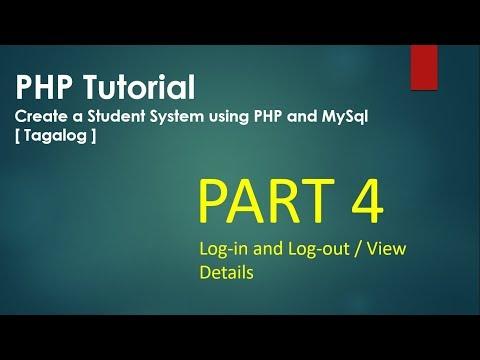 PHP Tutorial Part 4 / 6 (How To Create A Login Form And Create A User View Details Link) [Tagalog]