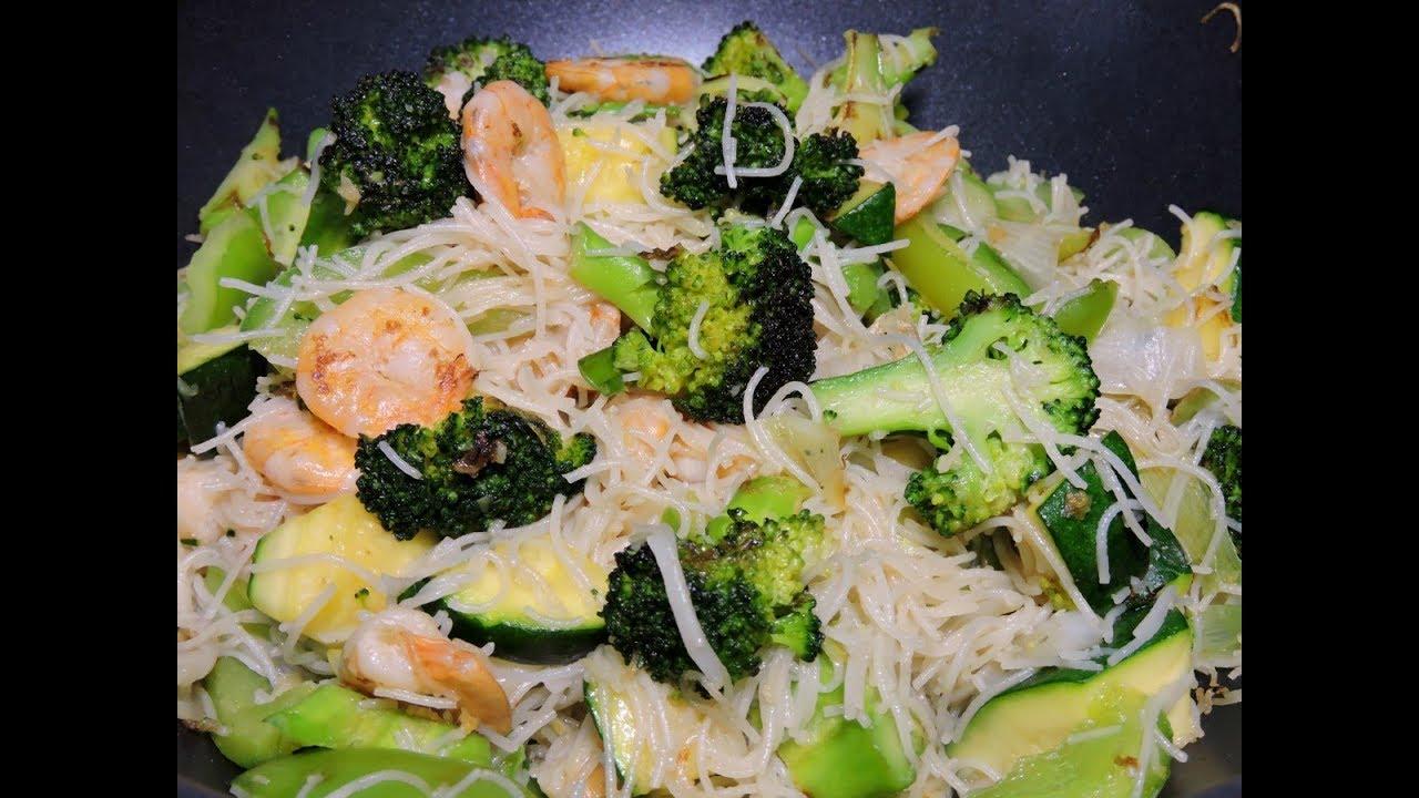 Brócoli con camarones y fideos de arroz - RecetasdeLuzMa