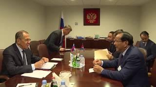 """С.Лавров 🇷🇺 и П.Сонкхон 🇰🇭""""на полях"""" 74-й сессии ГА ООН, Нью-Йорк, 27.09.19"""