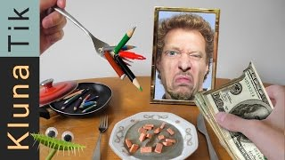 Kluna Tik Eating BRICKS, MONEY & PENCILS for LUNCH!  |#16 KLUNATIK COMPILATION  ASMR eating sounds