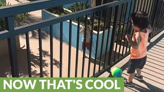 1-year-old pulls off epic basketball trick shot