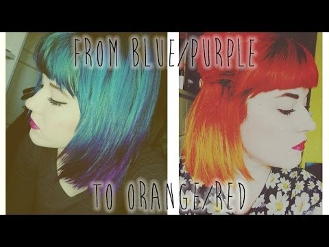 FROM GREEN/BLUE/PURPLE HAIR TO RED/ORANGE OMBRE - 동영상