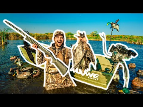SOLO Duck Hunting CHALLENGE with TINY BOAT on PUBLIC MARSH!!!