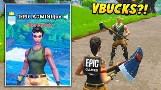 I put ADMIN in my name and told players I could give VBUCKS.. (Fortnite Battle Royale)