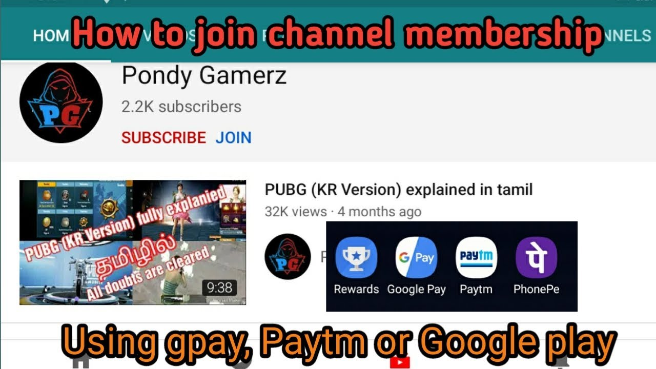 How to join in youtube member ||using paytm,Gpay||