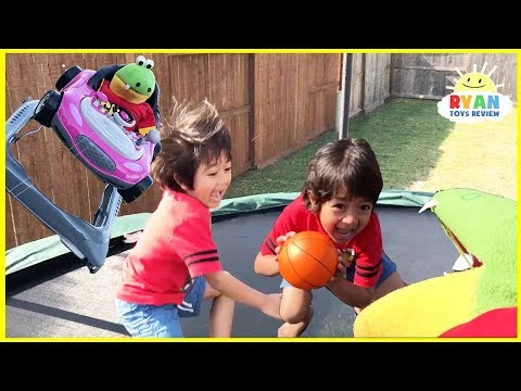 Thumbnail: Kids Playtime chasing with Gus The Gummy Gator Pretend Play! Family Fun Trampoline Jumping